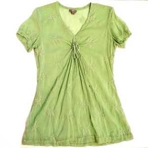 J. Jill Mint Green Embroidered Peasant Blouse XS